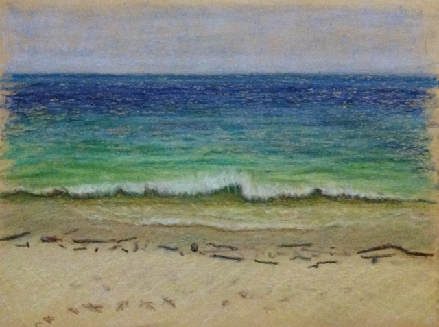 Laem Tong Beach from room 118 balcony,Oil Pastel, 24:10:15