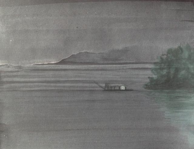 early-morning-mist-sun-moon-lakeacrylic-on-paper-20-5-x-14-5-cm-171216
