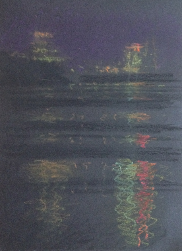 reflections-of-the-night-sun-moon-lake-oil-pastel-on-black-paper-20-5-x-14-5-cm-161216