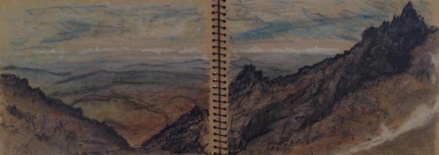 mount-ruapehu-from-knoll-ridge-cafe-tongariro-national-park-new-zealand-14117-54-x-19-5-cm-oil-on-pastel-on-brown-paper-david-lloyd