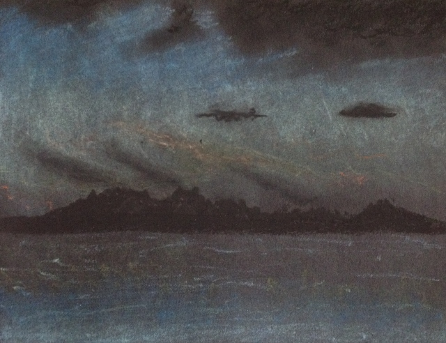 twilight-lake-taupo-new-zealand-20117-oil-pastel-on-black-paper-14-5-x-20-5cm-david-lloyd