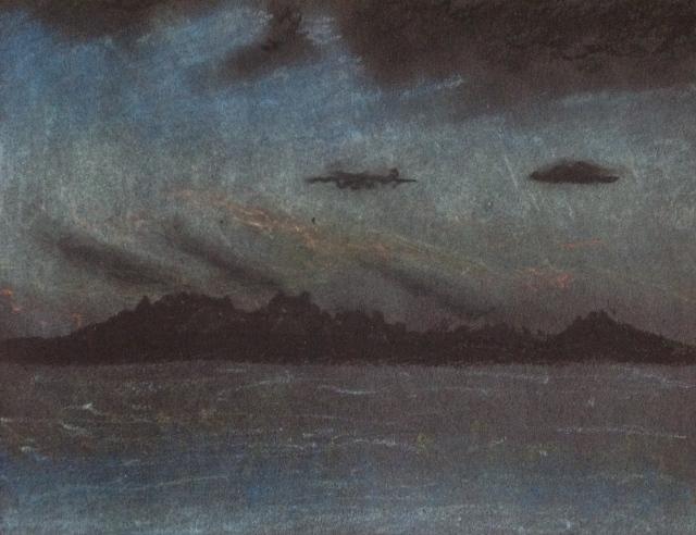 twilight-lake-taupo-new-zealand-20117-oil-pastel-on-black-paper-14-5-x-20-5cm-david-lloyd