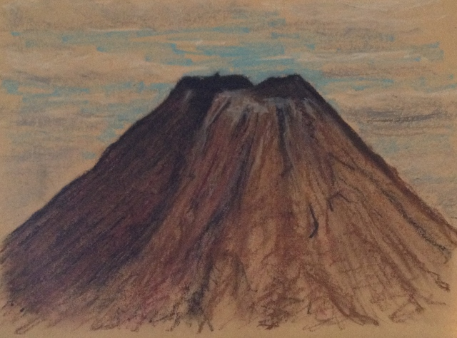 volcano-from-outside-ferguson-unit-8-chateaux-tongariro-tongariro-national-park-new-zealand-14117-27-x-19-5cm-oil-pastel-on-brown-paper-david-lloyd