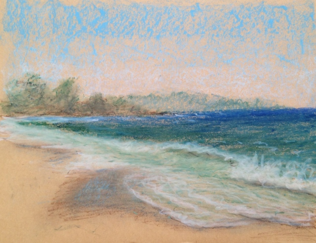 Carmel Beach,California, 27 x 19.5cm, Oil Pastel on Brown Paper, 17:6:17, by David Lloyd