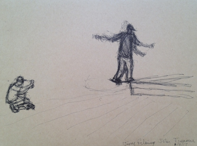 Jerry Filming John, Tienmu, Ink on Brown Paper,27 x 19.5 cm, 1:6:17 by David Lloyd