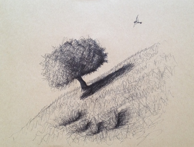 Hillside Tree and Vulture, San Jose, California, 27 x 19.5cm, Ink on Brown Paper, 6:7:17, by David Lloyd