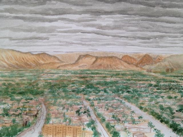 Incoming Storm, Las Vegas, 29.7 x 21cm, Acrylic on 300 gsm Paper,25: July:17, by David Lloyd