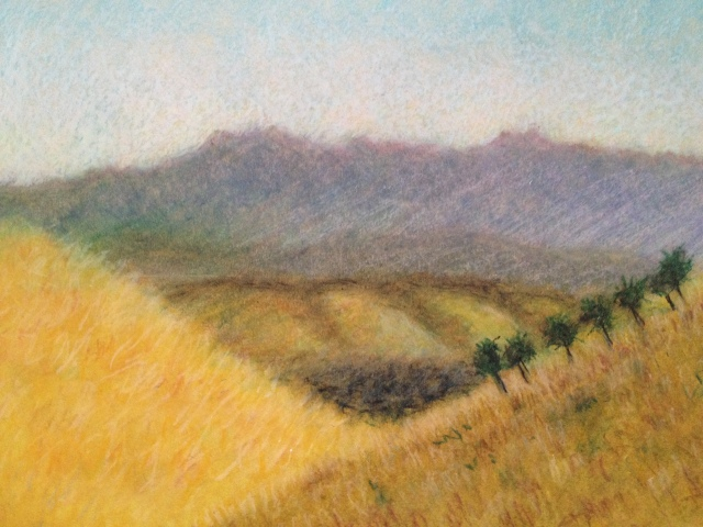 Late Afternoon over Santa Theresa, San Jose, California, 27 x 19.5cm, Oil Pastel on Brown Paper, 14:July:17, by David Lloyd