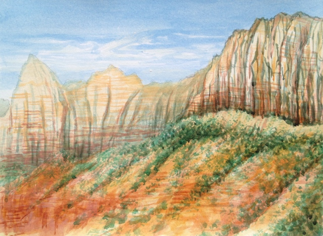 Sunrise in Zion National Park, Utah, U.S.A. Rm 237, Hampton by Hill, 29.7 x 21cm, Acrylic on 300 gsm Paper,18: July: 17, by David Lloyd
