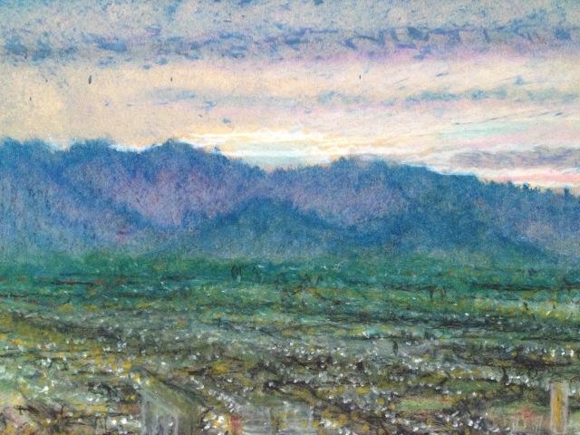 Sunset over Las Vegas 2, Wynn Hotel Rm 2745, 27 x 19.5cm, Oil Pastel on Brown Paper, 24:July:17, by David Lloyd