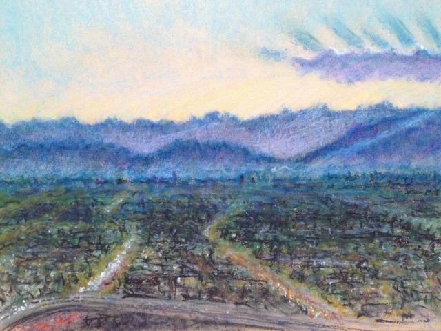 Sunset over Las Vegas, Wynn Hotel Rm 2745, 27 x 19.5cm, Oil Pastel on Brown Paper, 22:July:17, by David Lloyd