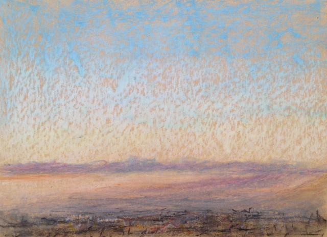 Sunset over San Jose, California, 1, 27 x 19.5cm, Oil Pastel on Brown Paper, 27:6:17, by David Lloyd