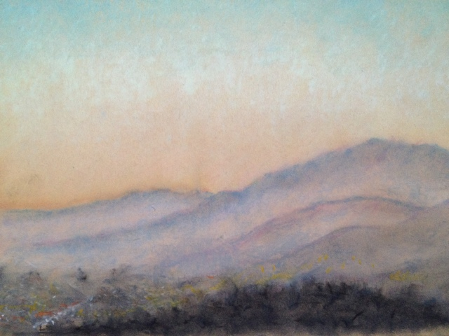 Sunset over San Jose, California, 11:July:17, 27 x 19.5cm, Oil Pastel on Brown Paper, by David Lloyd