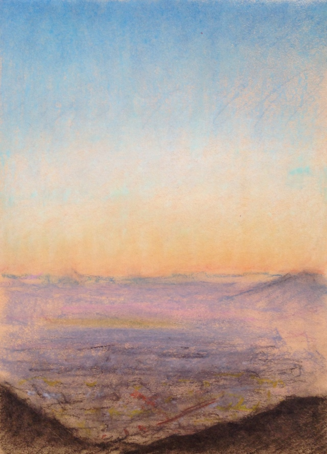 Sunset over San Jose, California, 2, 27 x 19.5cm, Oil Pastel on Brown Paper, 27:6:17, by David Lloyd