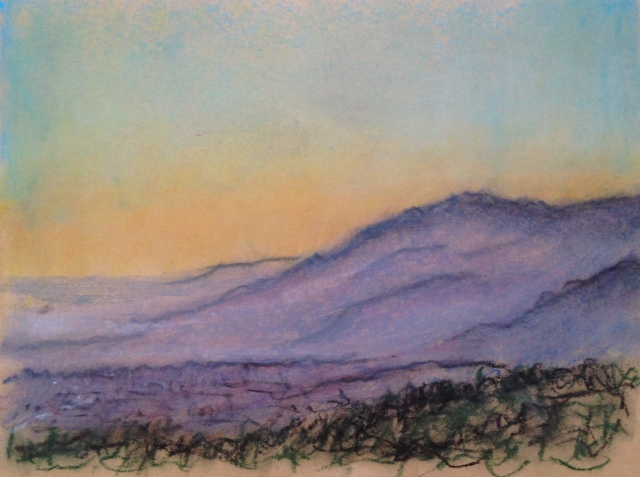 Sunset over San Jose, California, 28:6:17, 2, 27 x 19.5cm, Oil Pastel on Brown Paper, 28:June:17, by David Lloyd