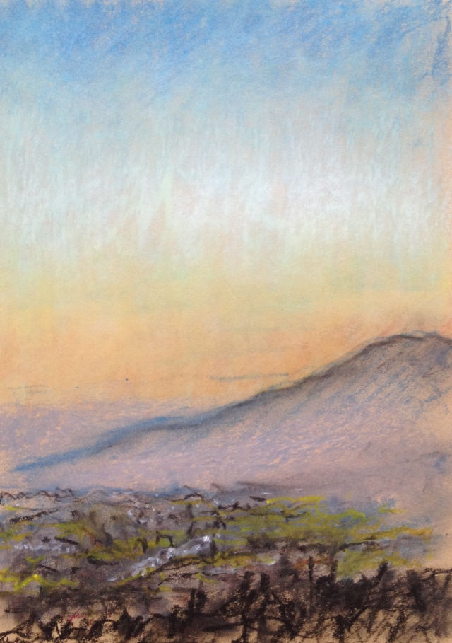Sunset over San Jose, California, 28:6:17, 3, 27 x 19.5cm, Oil Pastel on Brown Paper, 28:June:17, by David Lloyd