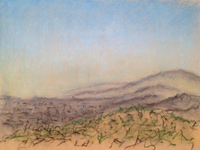 Sunset over San Jose, California, 28:June:17, 1, 27 x 19.5cm, Oil Pastel on Brown Paper, 28:6:17, by David Lloyd