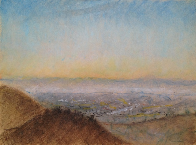 Sunset over San Jose, California, 29:June:17, 27 x 19.5cm, Oil Pastel on Brown Paper, 29:6:17, by David Lloyd