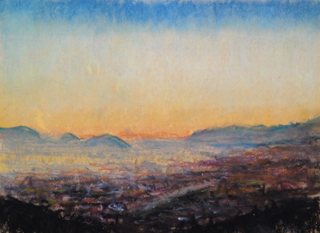 Sunset over San Jose, California, 6:July:17, 27 x 19.5cm, Oil Pastel on Brown Paper, by David Lloyd