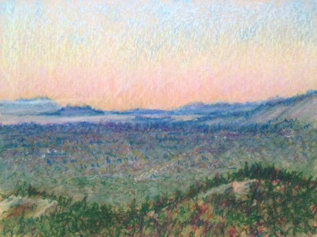 Sunset over San Jose, California,25:July:17, 27 x 19.5cm, Oil Pastel on Brown Paper, by David Lloyd