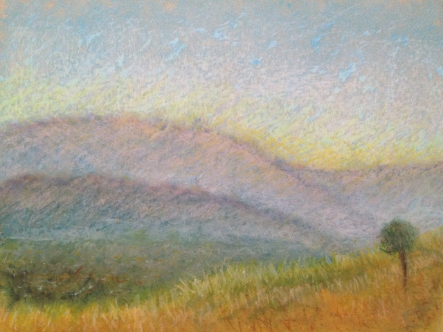 Sunset over Santa Theresa, San Jose, California, 27 x 19.5cm, Oil Pastel on Brown Paper, 12:July:17, by David Lloyd