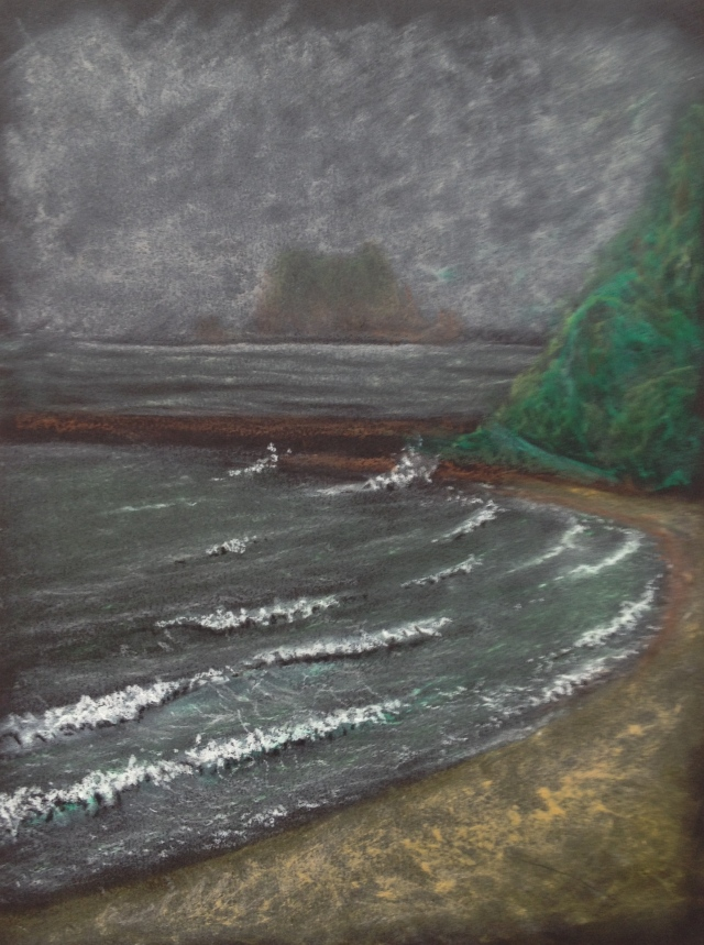 Choppy Seas, Keelung Island, Green Bay, 23 x 30.5 cm, Oil Pastel on Black Paper, 9:5:18 by David Lloyd