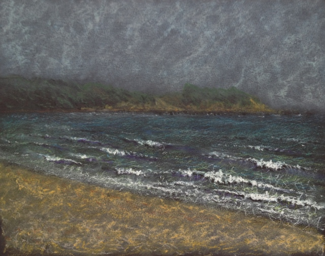 Choppy Seas, Yeliou, Green Bay, 30.5 x 23 cm, Oil Pastel on Black Paper, 9:5:18 by David Lloyd