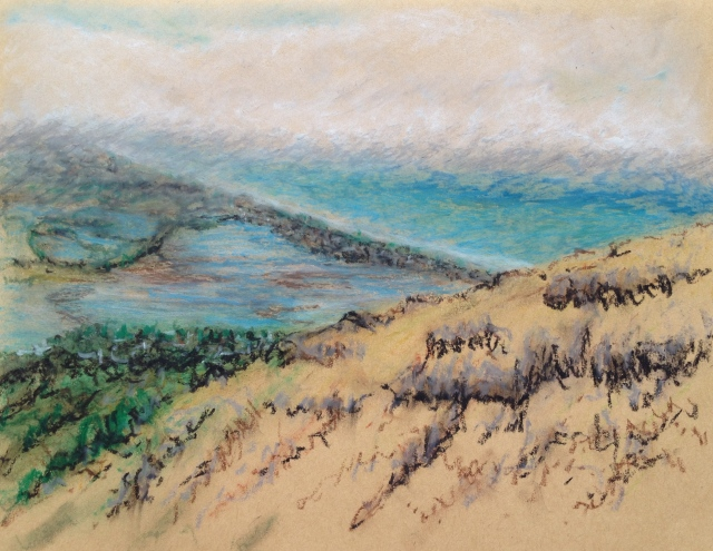 Christchurch Coast and Fog Bank From Red Rock Cafe, N.Z. 26 x 19.5cm, Oil Pastel on Brown Paper, 3:1:18 by David Lloyd
