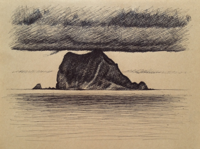 Keelung Island, Green Bay, Ink on Brown Paper, 26 x 19.5, 8:5:18 by David Lloyd