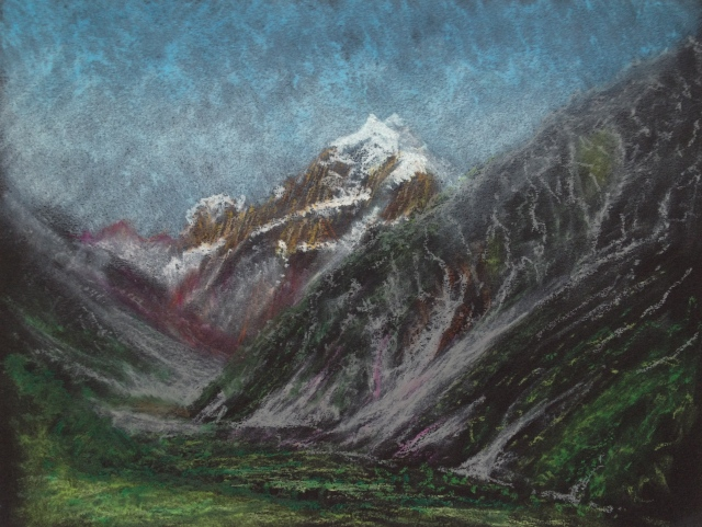 Late Afternoon, Mount Cook, N.Z. from Hermitage Hotel, Room 141, 30.5 x 23 cm, Oil Pastel on Black Paper, 7:1:2018 by David Lloyd