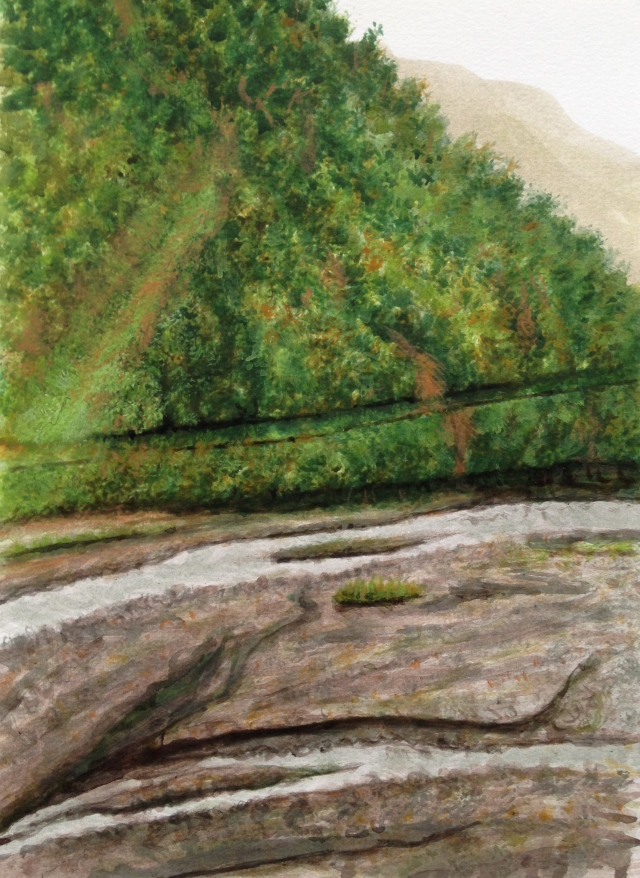 Morning in the Valley, Chi-Lan, Ilan, from Lea Lea Hotel, rm 6302,10: Nov:17, 29.7 x 21cm, Acrylic on 300 gsm Paper by David Lloyd