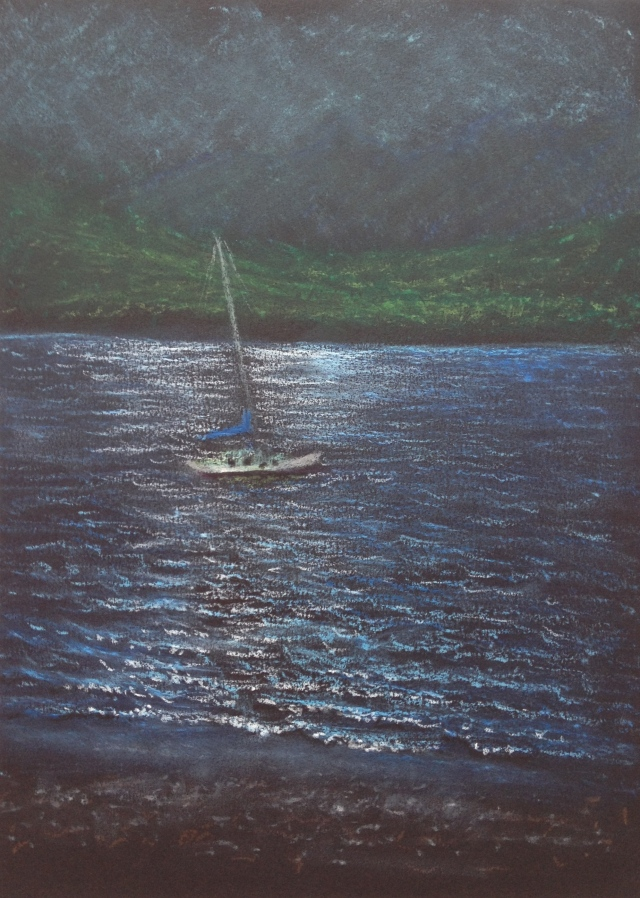 Sailboat, Lake Te Anau, Fiordland National Park,N.Z, 23 x 30.5 cm, Oil Pastel on Black Paper, 13:1:18 by David Lloyd