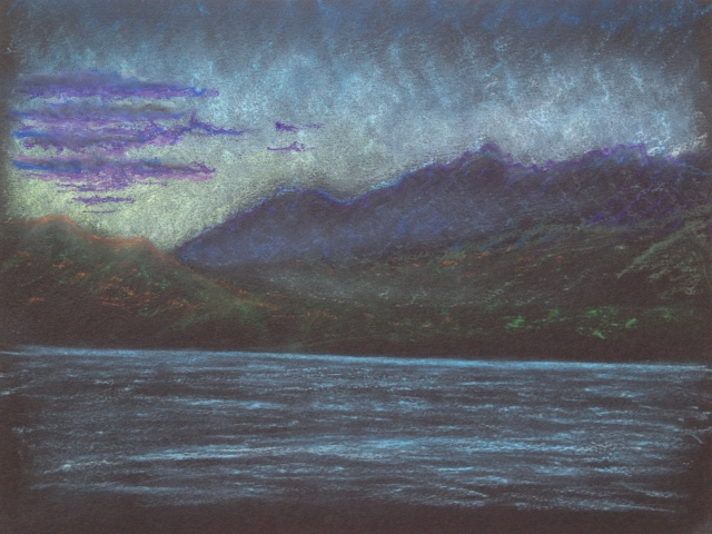 Sunset, Lake Te Anau, Fiordland National Park,N.Z, 23 x 30.5 cm, Oil Pastel on Black Paper, 13:1:18 by David Lloyd