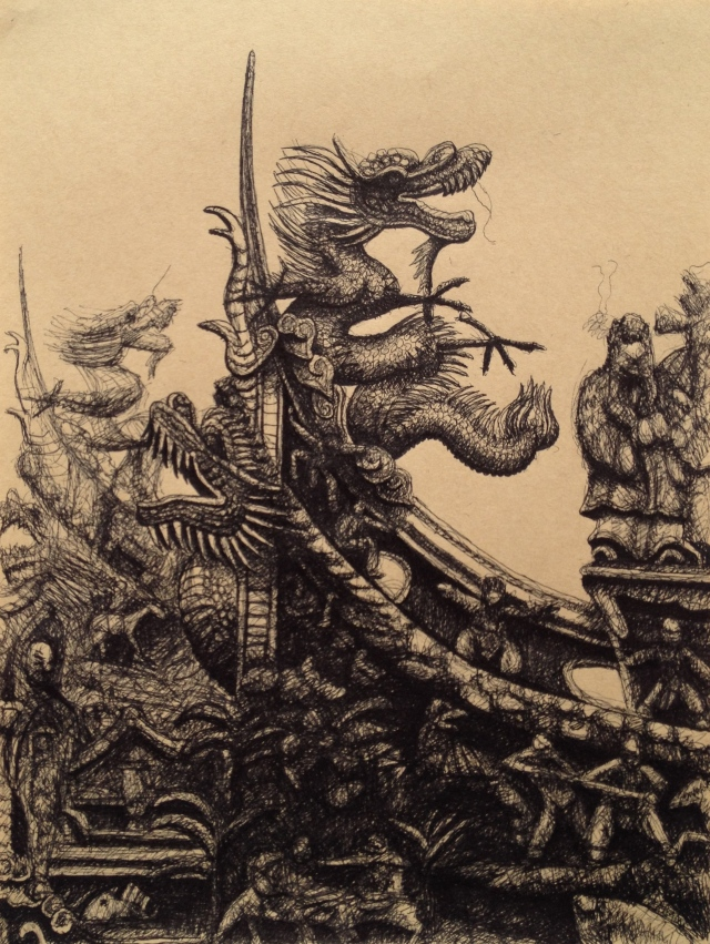 Dragon 2, San Chong, Ink on Brown Paper, 19.5 x 26 cm, 2018 by David Lloyd
