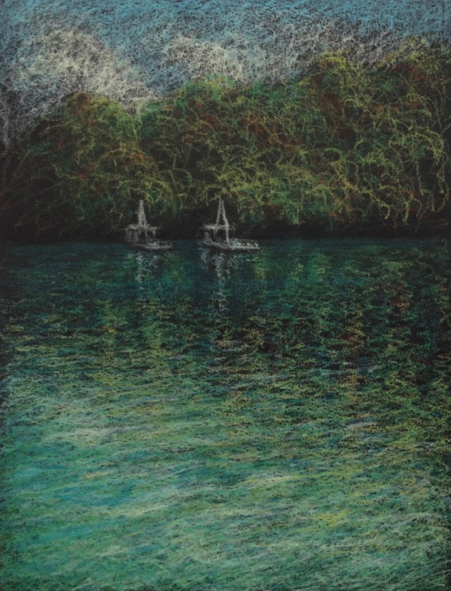 Fishing Platforms, Sun Moon Lake, 23 x 30.5 cm, Oil Pastel on Black Paper, 2018 by David Lloyd