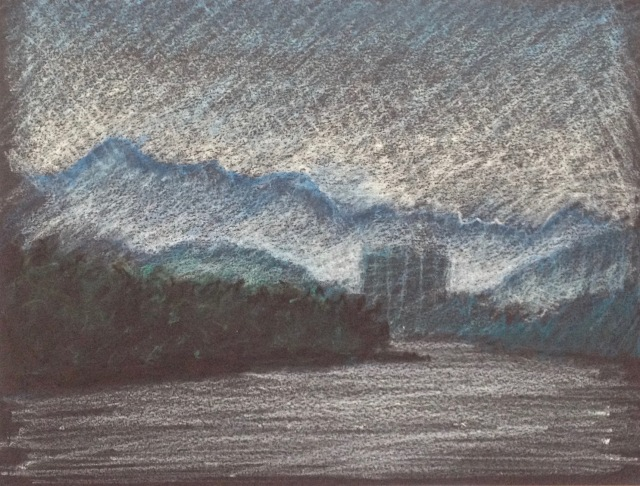 Hazy Afternoon Reflections, Sun Moon Lake, 30.5 x 23 cm, Oil Pastel on Black Paper, 2018 by David Lloyd