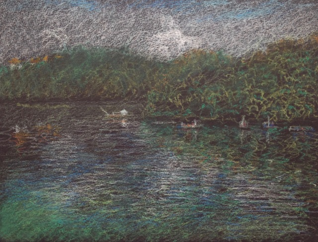 Morning on Sun Moon Lake, 30.5 x 23cm, Oil Pastel on Black Paper, 2018 by David Lloyd