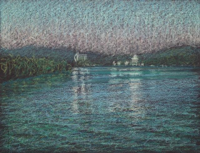 Morning Reflections, Sun Moon Lake, 23 x 30.5 cm, Oil Pastel on Black Paper, 2018 by David Lloyd