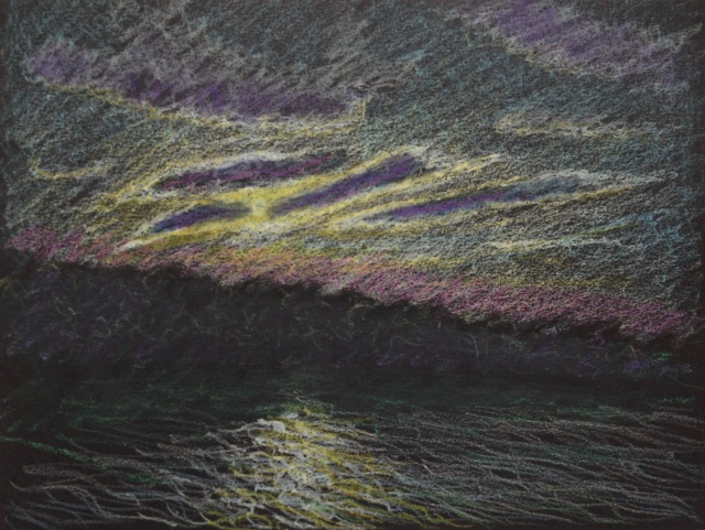 Sunset Reflections, Sun Moon Lake, 30.5 x 23 cm, Oil Pastel on Black Paper, 2018 by David Lloyd