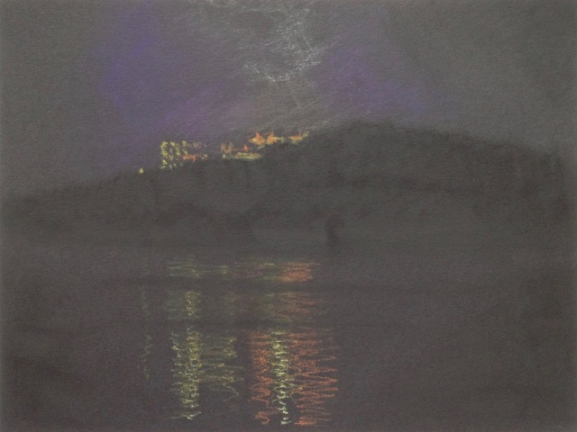 Wen-Wu Temple, Evening Reflections 2, Sun Moon Lake, 30.5 x 23 cm, Oil Pastel on Black Paper, 2018 by David Lloyd