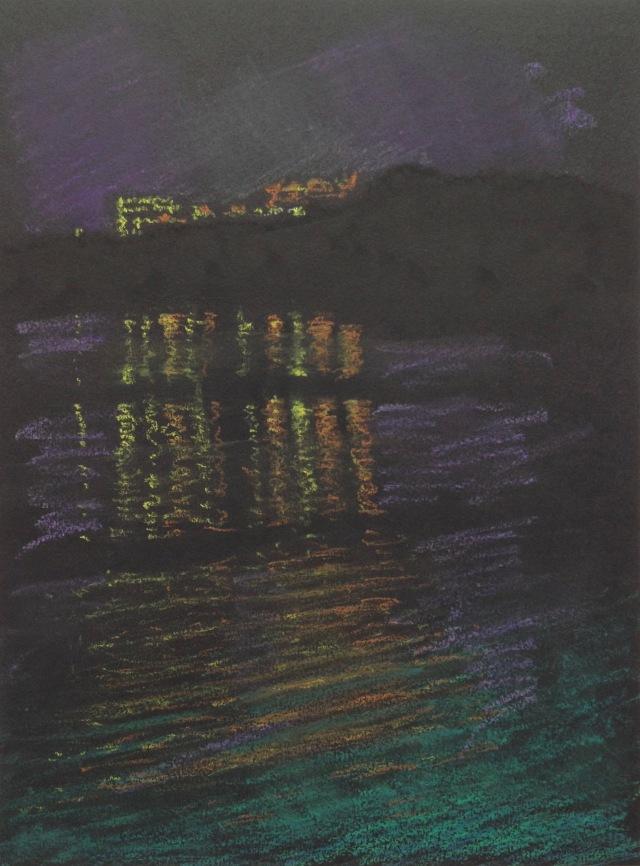 Wen-Wu Temple, Evening Reflections, Sun Moon Lake, 23 x 30.5 cm, Oil Pastel on Black Paper, 2018 by David Lloyd