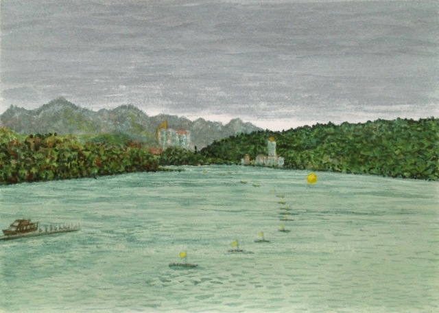 Before the Swim, Sun Moon Lake, 29.7 x 21 cm, Acrylic Paint on 300 gsm Paper, 2018 by David Lloyd