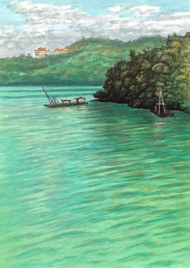 Morning Colours on the Lake, Sun Moon Lake, 21 x 29.7cm, Acrylic Paint and Ink on 300 gsm Paper, 2018 by David Lloyd