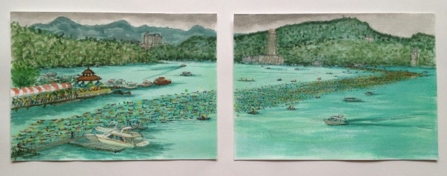 Swimming Across the Lake, Sun Moon Lake, 59.4 x 21 cm, Acrylic Paint and Ink on 300 gsm Paper, 2018 by David Lloyd