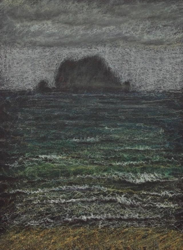 Keelung Island, Oil Pastel on Black Paper, 22.9 x 30.5 cm, Nov 2018 by David Lloyd