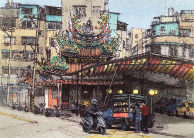 Mobile Sandalshop, San Chong, Ink and Acrylic on 300gsm Paper, 37.5 x 27cm, 2018-19 by David Lloyd.