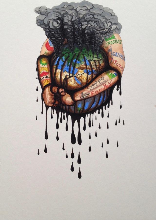 7 Deadly Sins Against the Earth, Envy, Ink and Acrylic on Mountboard, 26.4 x 37 cm, 2020 by David Lloyd