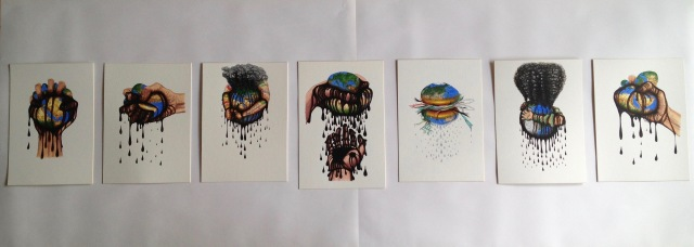 """""""7 Deadly Sins Against the Earth"""" series, Acrylic and ink on Mountboard, approx 216 x 50 cm, 2020 by David Lloyd"""