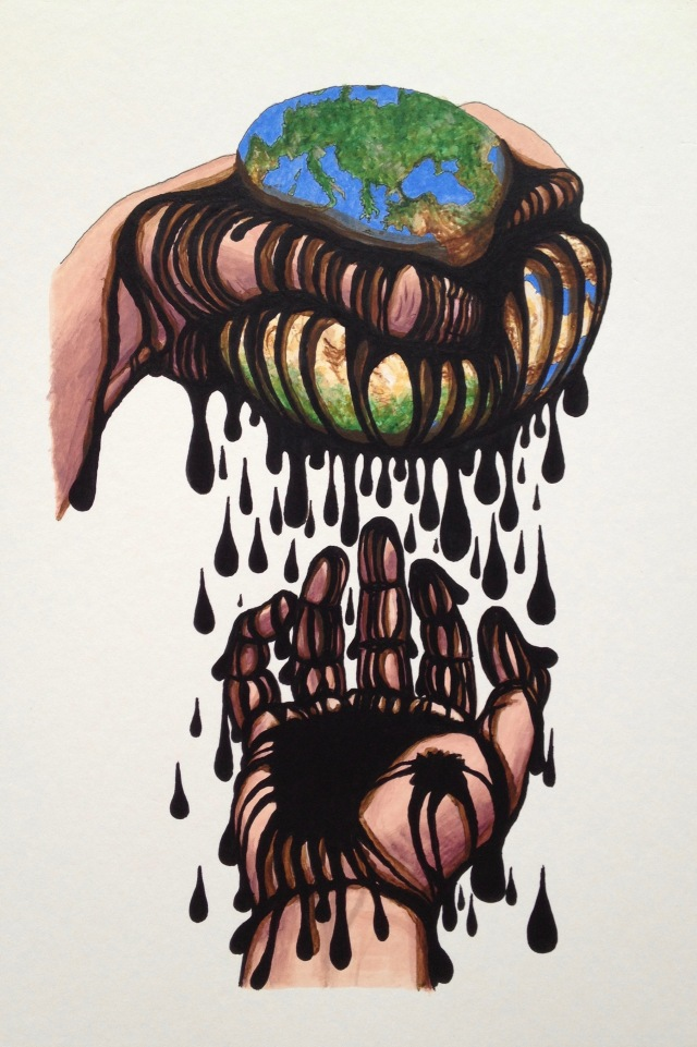 Gluttony, Ink and Acrylic on Mountbaord, 27 x 40cm, 2020 by David Lloyd